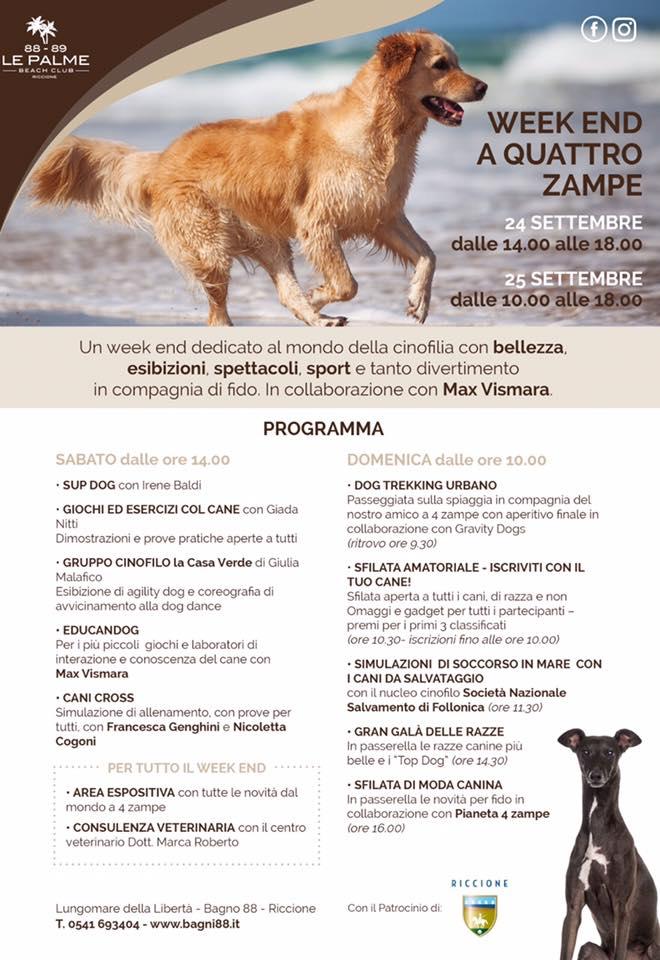 Programma week end a quattro zampe, Le Palme Beach Club, Riccione